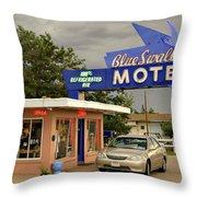 Blue Swallow Motel Throw Pillow