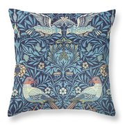 Blue Tapestry Throw Pillow by William Morris