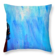 Blue Thinker Throw Pillow