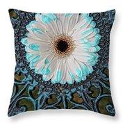 Blue Tipped Flower Throw Pillow