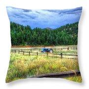 Blue Tractor Deckers Colorado Throw Pillow