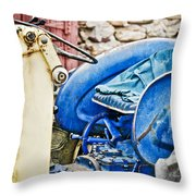 Blue Tractor Throw Pillow