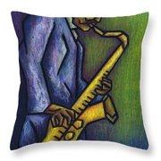 Blue Train Throw Pillow