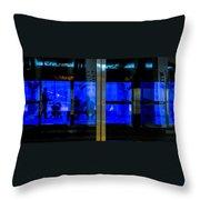 Blue Tram Windows Throw Pillow