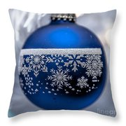 Blue Tree Ornament Throw Pillow