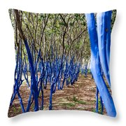Blue Trees In Nature Throw Pillow