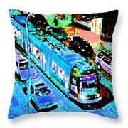 Blue Trolley Portland Throw Pillow