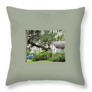 Blue Truck And Moss Throw Pillow