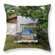 Blue Truck  Throw Pillow