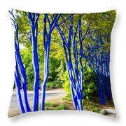 Blue Trunked Trees 2 Throw Pillow