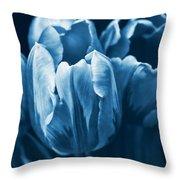 Blue Tulip Flowers Throw Pillow