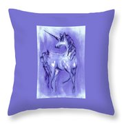 Blue Unicorn Throw Pillow