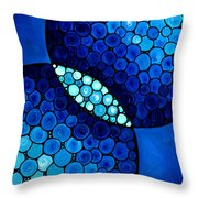 Blue Unity Throw Pillow by Sharon Cummings