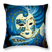 Blue Venetian Mask Throw Pillow