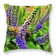 Blue Veronica Flowers   Digital Paint Throw Pillow