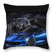 Blue Vette Throw Pillow