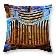 Blue Vintage Car Throw Pillow
