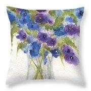 Blue Violet Flower Vase Throw Pillow