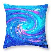 Blue Vortex Abstract 2 Intense Throw Pillow