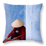 Blue Wall Hawker 02 Throw Pillow