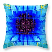 Blue Wallflower Abstract Throw Pillow