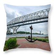 Blue Water Bridge Anchor Throw Pillow