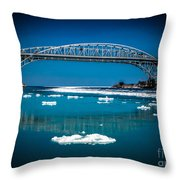 Blue Water Bridge Reflection Throw Pillow
