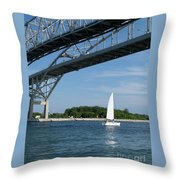 Blue Water Bridge Sail Throw Pillow