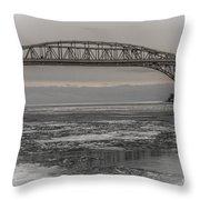 Blue Water Bridges Throw Pillow