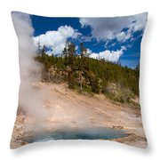 Blue Water White Steam Throw Pillow