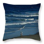 Blue Wave Walking Throw Pillow