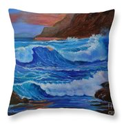 Blue Waves Hawaii Throw Pillow