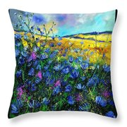 Blue Wild Chicorees Throw Pillow by Pol Ledent