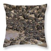 Blue Wildebeest Migration Throw Pillow