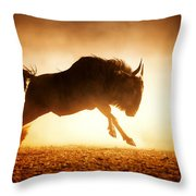 Blue Wildebeest Running In Dust Throw Pillow