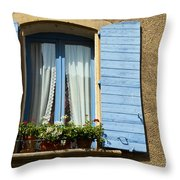 Blue Window And Shutters Throw Pillow