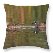 Blue-winged Teal Pair Throw Pillow