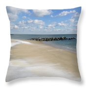 Blue Winter Sea And Sky Throw Pillow
