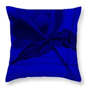 Blue Wood Flower Throw Pillow
