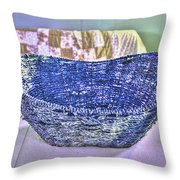 Blue Woven Basket Throw Pillow