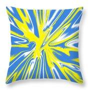 Blue Yellow White Swirl Throw Pillow