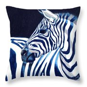 Blue Zebra Throw Pillow
