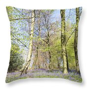 Bluebell Time In England Throw Pillow