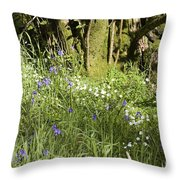 Bluebells And Greater Stitchwort Spring  Boot Eskdale Cumbria England Throw Pillow