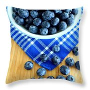 Blueberries And Blue Napkin Throw Pillow