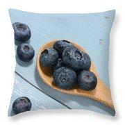 Blueberries On A Spoon Throw Pillow