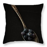 Blueberries On Silver Spoon Throw Pillow