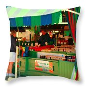 Blueberries Strawberry Jam Baskets Ferme Racine Petits Fruits Jean Talon Market Scene Carole Spandau Throw Pillow