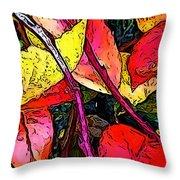 Blueberry Autumn Leaves Throw Pillow