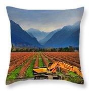 Blueberry Field Excavator Throw Pillow